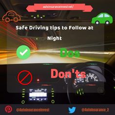 How to stay safe while driving at night?   What things should be avoided while doing night riding? What are the steps that must be always followed at the time of driving at night? 08 Safe driving tips to follow at night.  #safedriving #nightdriving #driving #drivingtips #distracteddriving #autosafety #vehicle #auto #autosafety Distracted Driving, Drunk Driving, Night Driving, Safe Driving Tips, Driving Rules, Car Engine, Car Insurance, Stay Safe, Night Time
