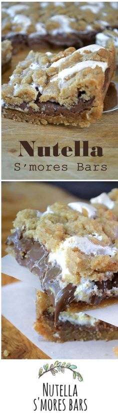 S'mores Bars Skip the campfire and make these bars instead! What a delicious and easy dessert bar recipe with Nutella!Skip the campfire and make these bars instead! What a delicious and easy dessert bar recipe with Nutella! Desserts Nutella, Easy Desserts, Delicious Desserts, Dessert Recipes, Yummy Food, Tasty, Recipes With Nutella, Nutella Drink, Nutella Cake