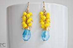 vergoldete Ohrringe mit Aqua-Kristall und gelben Glasperlen // gilded earrings with aqua crystal and yellow glass beads via DaWanda.com
