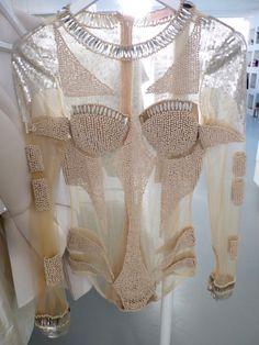 Sheer Beaded leotard bodysuit