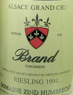"""1994 Zind-Humbrecht """"Brand"""" Riesling, Alsace, France    For anyone who drinks Alsatian wines on a regular basis, let alone someone who considers themselves a fan or an aficionado of the unique wines from this narrow slice of northeastern France, it's pretty much impossible to have a discussion about the area without the name Zind-Humbrecht coming up. While everyone is reticent to pronounce any one winery """"the best"""" no matter which region you're talking about, many..."""