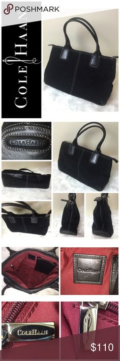 """Cole Haan Signature Leather Handbag Cole Haan Signature Leather Handbag, classic Black Suede and Smooth Genuine Leather Mix with Beautiful Double Stitching,  Approximate Size is 13""""x 8""""x 4"""",  zip Top Closure with 1 Interior Zip Side Pocket and 1 Leather Side Pocket for an iPhone 6 or Samsung Galaxy, Perfect for Everyday Use,  Used in Good Condition! Cole Haan Bags"""