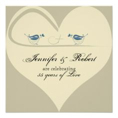 Love Birds on Ecru Heart Wedding Anniversary Invite