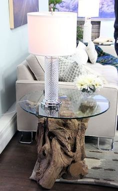 Table Driftwood side table coffee table sofa
