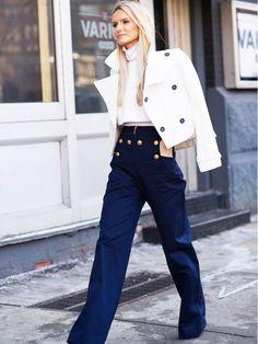 navy pants white blazer