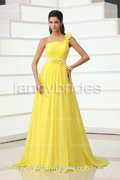 Yellow One Shoulder Chiffon Summer Glamorous Evening Dress - Fannybrides.com