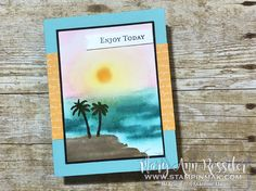 Watercolored Waterfront by stampinmak - Cards and Paper Crafts at Splitcoaststampers Wink Of Stella, Brain Waves, Petunias, Watercolor Paper, Palm Trees, Stampin Up, Paper Crafts, Scene