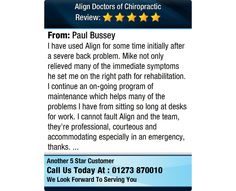 I have used Align for some time initially after a severe back problem. Mike not only...