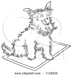 cartoon clipart of an outlined scottie dog on a rug black and white vector coloring