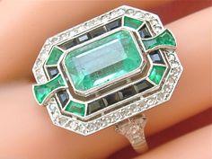 Estate Art Deco 3ct Emerald 32ctw Diamond Black Onyx Platinum Cocktail Ring | eBay