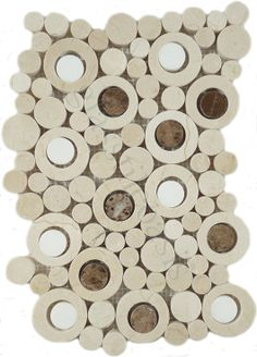 Optimal Coverings  Bubble Series, Circles, Crema Marfil with Thassos White & Dark Emperador Dots, Polished, Cream/Beige, Stone