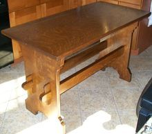 Mission Style Arts and Crafts Oak Library Table Quarter Sawn Tiger Oak