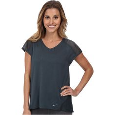 Nike Relay S/S Top Women's Short Sleeve Pullover, Gray ($20) ❤ liked on Polyvore featuring activewear, activewear tops, grey, nike, sweater pullover, short sleeve pullover, nike activewear and nike pullover