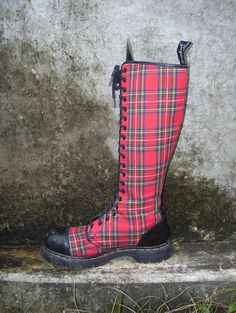 Tartan Plaid Punk Boots Vintage Knee High Lace Up GripFast made in England Steel Toes