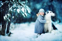 Amazing Christmas Photos of Kids with farm animals and pets by Elena Shumilova and Elena Karneeva. Snow Girl, Mundo Animal, Winter Beauty, Winter Scenes, Beautiful Children, Mans Best Friend, Bestest Friend, Belle Photo, Children Photography