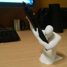 "New buddy the ""impale guy"" holds the mighty pen #wacom #pen #penholder #3dprint…"