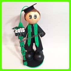 "Graduation Fofucha Doll. This 12"" Graduate is handmade using craft foam sheets. Can make a great centerpiece for your graduates party. Will also be a special one of a kind gift. order email info@fofuchas.org #GraduationCenterpiece #ClassOf2015 #GraduationPartyIdeas"