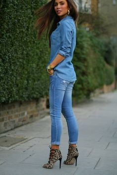 Camel Leopard Ankle Boots With Total Denim Outfit