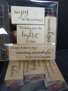 New 2015 exclusive Memory Box Sentiments Set - each stamp has a bonus image stamp on the end! www.simplepleasuresstamps.com