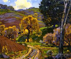 William Wendt Laguna Canyon oil painting reproductions for sale Abstract Landscape, Landscape Paintings, Classical Realism, American Impressionism, Autumn Scenes, Watercolor Trees, Great Paintings, Impressionist Paintings, Oil Painting Reproductions