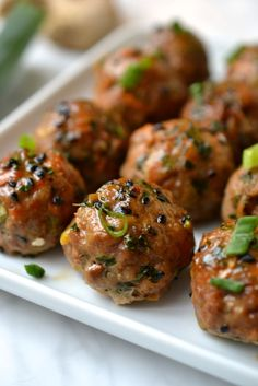 Pork or turkey meatballs that are melt in your mouth tender and packed with delicious asian flavours. A great main or appetiser(paleo/ gluten free/ Mexican Meatballs, Asian Meatballs, Tasty Meatballs, Turkey Meatballs, Ground Pork Meatballs, Chicken Meatballs, Meatball Recipes, Pork Recipes, Paleo Recipes
