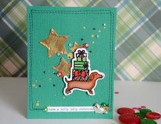 Christmas card with dachshund stamp by May Flaum using 28 Lilac Lane embellishments