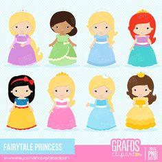 FAIRYTALE PRINCESS Digital Clipart Set Princess by GRAFOSclipart