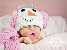 Crochet Baby Snowman Hat and Scarf Set by LoveyBuggies on Etsy, $40.00