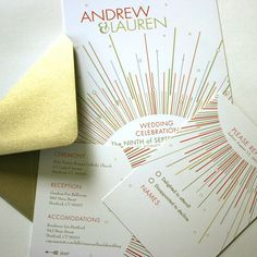 art deco wedding invites - dig the gold #wedding #gold
