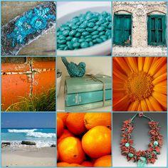 Turquoise and orange inspiration by applekrisp, via Flickr