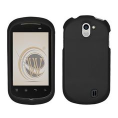 Black Rubberized Protector Case for LG DoublePlay C729 $0.05