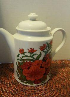 Nasco Japanese Porcelain Minamiyama Seitosho Deep Orange Poppy  Electric Teapot