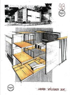 This is a house by the romanian architect Radu Teaca. House by Arh. Architecture Exam, Architecture Presentation Board, Architecture Sketchbook, Interior Design Renderings, Best Interior Design, Cafe Interior, Building Sketch, Building Design, Schematic Design