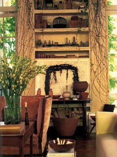 Rose Tarlow's charming vine-covered living room walls.