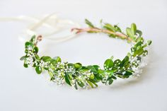 Vert Couronne de fleur, accessoires de cheveux pour le mariage des bois, casque nuptiale, Couronne Floral, bohème - GAIA