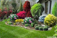 rabatka przy schodach - GardenPuzzle - projektowanie ogrodów w przeglądarce