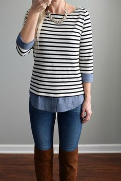 Adorable top that looks layered without all the added bulk