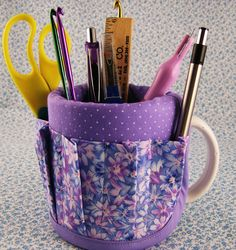 Mug Coffee Cup Aprons Covers Have Stuff will Organize Lavender Floral Impression Sewing Basket. $12.00, via Etsy.
