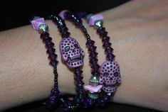 Day of the Dead Skulls Purple Skull bracelet ooak by SoraCreations, $22.25