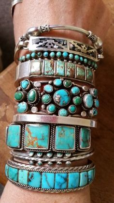 Stack of sterling and turquoise bracelets...
