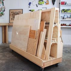 And here's the back of my scrap storage cart. Perfect for all those plywood - Storage Cart - Ideas of Storage Cart #StorageCart - And here's the back of my scrap storage cart. Perfect for all those plywood cut offs. Link in bio for video!