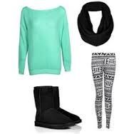 This is such a cute simple out fit for a tween girl.Aqua blue sweatshirt,printed leggings,black infinity scarf,black uggs.