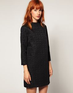 Dress 'Geo Jacquard Cocoon' by ASOS BLACK.