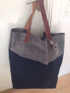 Weekender/ Big tote. Waxed denim and suede, leather handles.