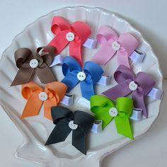 Little Button Ribbon Bows- Choose Your Colors- Watermelon, Pink, Tan, Blue, Purple, Tangerine, Lime, or Charcoal on Etsy, £1.83