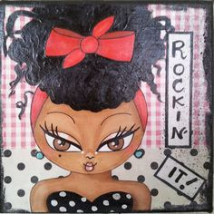 Rockin' It Natural Hair Art Mixed Media 6x6 Canvas Pin by Boricubi