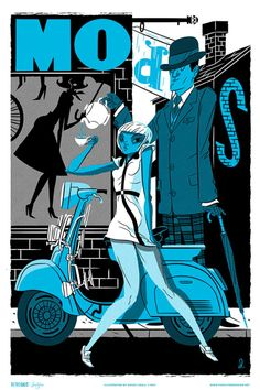 """""""Cafe Racer"""" by Alex Pearson - From Familytree's """"Retro Gals : Mods and Rockers"""" art print series."""