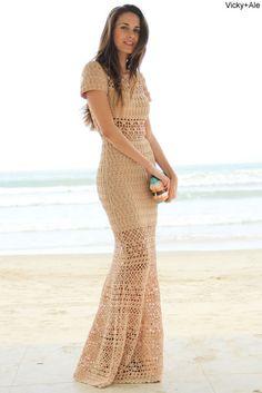 Vestido longo de crochet