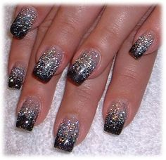 You can get away with a not-so-perfect black/clear French manicure, then do the glitter polish over it to cover imperfections.  Nice DIY New Year's Eve nail design!