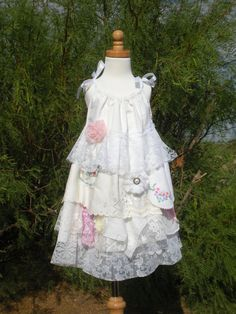 Little Girl's Vintage Ruffles Shabby Chic Lace Dress (Flower Girl)